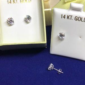 Solid 14k gold 2.0 carat lab created diamond studs